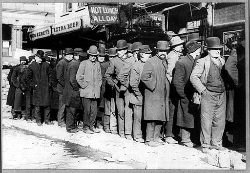 Bowery Men Waiting in Breadline, 1910