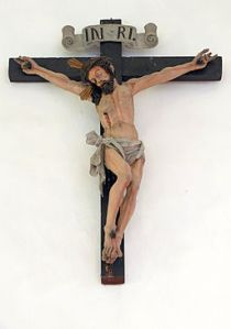 A Wood Carved Baroque Crucifix in St. Oswald's Church, Kastleruth, Germany by Wolfgang Moroder