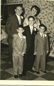 The Stein family, ca. 1960. Left to right in the front row, Jack, Gerry, and Eddie.