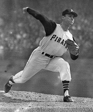 13 Oct 1960, Pittsburgh, Pennsylvania, USA --- 10/13/1960-Pittsburgh, PA: Photo shows the seventh game of the World Series between the New York Yankees and the Pittsburgh Pirates.  Vernon Law, Pittsburgh Pirates pitcher, is shown in mid-pitch action. --- Image by © Bettmann/CORBIS